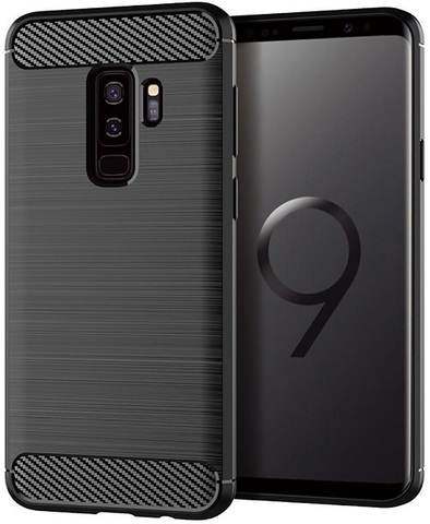 Чехол Samsung Galaxy S9 Plus цвет Black (черный), серия Carbon, Caseport