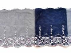 Вышивка на сетке, ПРАВАЯ, 20 см, темно-синий/розовые бантики, м