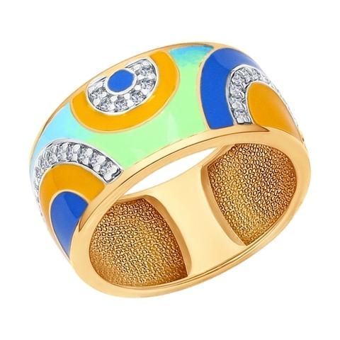 93010562- Кольцо из золочёного серебра с эмалью
