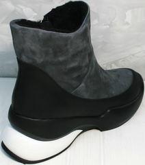 Спортивные полусапожки кроссовки повседневные женские зимние Jina 7195 Leather Black-Gray