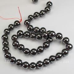 Бусина Гематит немагнитный (искусств), шарик, цвет - глянцевый черный, 10 мм, нить