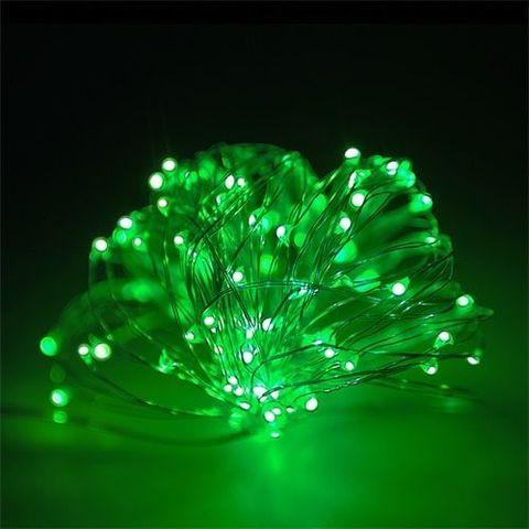 LED гирлянда на тонком проводе проволочке роса 100 лед зеленая