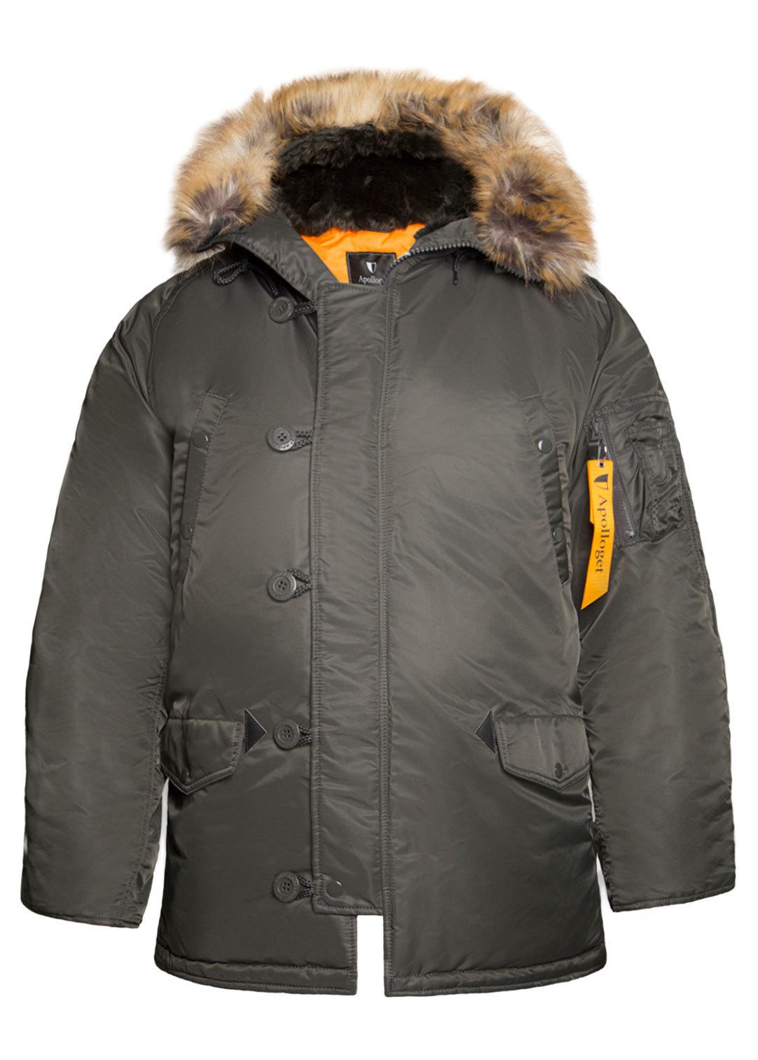 Куртка Аляска  Apolloget N-3B Regular (т.серая - beluga/orange)