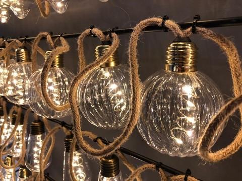Гирлянда ретро на бечевке с круглыми лампочками Luca Lighting теплый белый свет (10 ламп, длина гирлянды 315 см)
