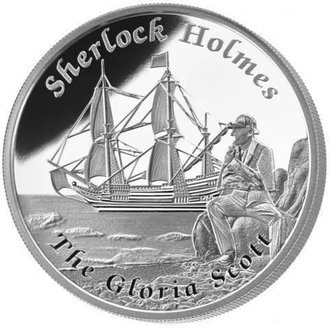 1 доллар.Корабль парусник Глория Скотт Шерлок Холмс. Тувалу. 2014 год. PROOF