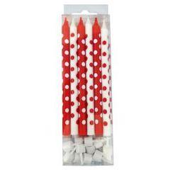 MC Свечи Красные и белые в горошек с держателями, 12см, 12шт.