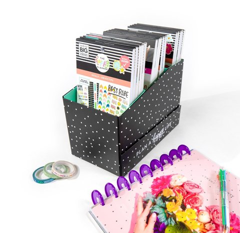Органайзер для хранения стикербуков - Sticker Storage Box - Black and White Polka Dot