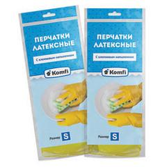 """Перчатки латексные """"Komfi"""" с хлопковым напылением XL"""