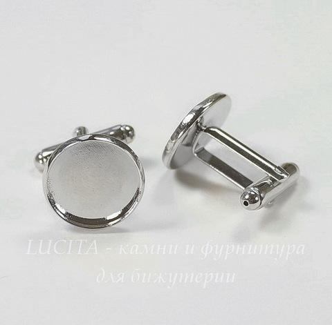 Основа для запонок с сеттингом для кабошона 14 мм (цвет - платина), 19х18 мм, ПАРА