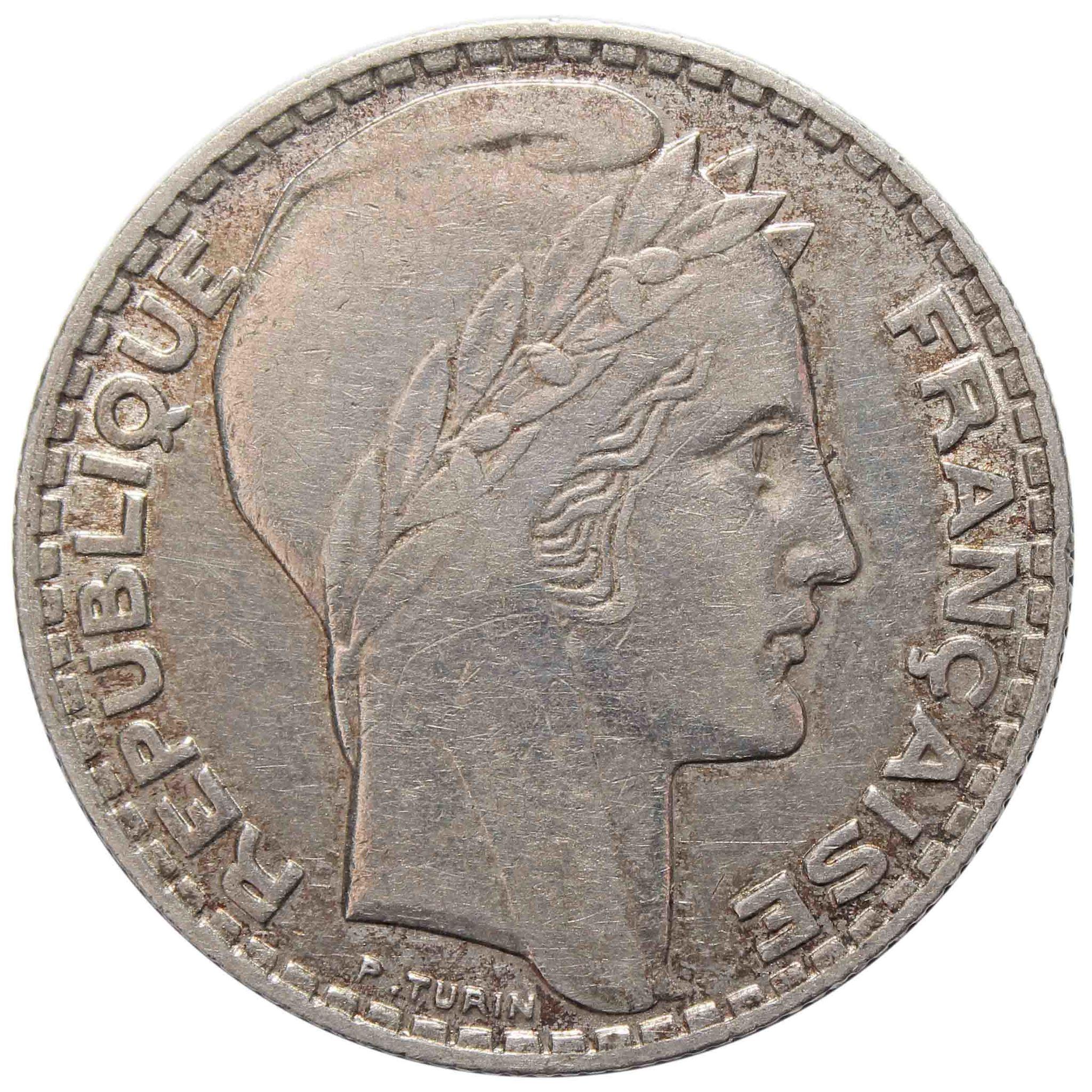 10 франков. Франция. Серебро. 1934 год. VF-XF