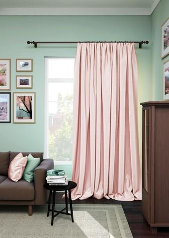 Готовая штора сатен Авери с подхватом розовый
