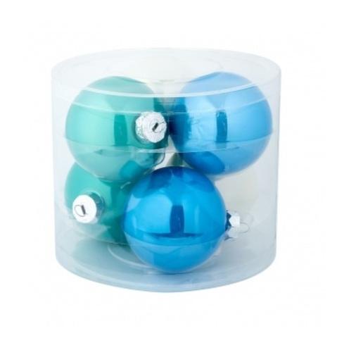 Набор шаров 6шт. (стекло), D8см, голубой микс