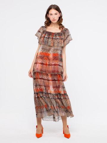 Фото легкое длинное платье с открытыми плечами и воланами - Платье З185-735 (1)