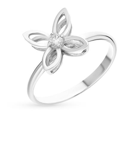 Кольцо Цветок из серебра с джевалитом