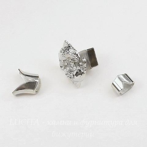 """Замок для шнура 5 мм из 3х частей """"Рыбы"""", 29х25х16 мм (цвет - платина)"""