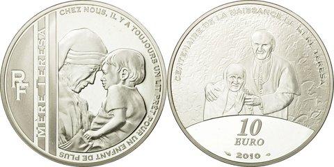 10 евро 2010 года. Франция. Мать Тереза. Серебро