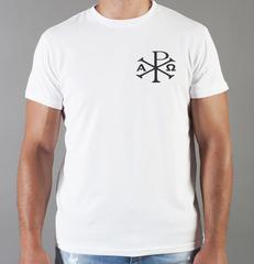 Футболка с принтом Альфа и Омега, Рыбка, Христианство, Православие, Христианские символы, белая 005