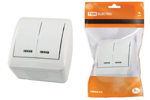 Выключатель 2-кл. открытой установки с подсветкой IP44 10А белый