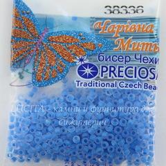 38336 Бисер 10/0 Preciosa Кристалл матовый с синим центром