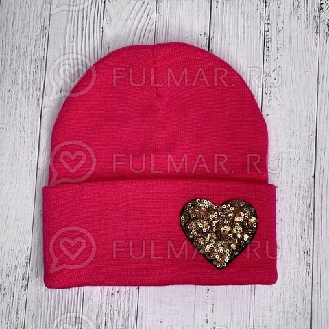 Шапка для девочки Малиновая с сердцем из пайеток