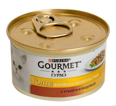 Gourmet Gold консервы с уткой и индейкой для взрослых кошек 85 г
