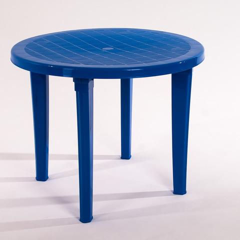 Пластиковый стол круглый синий