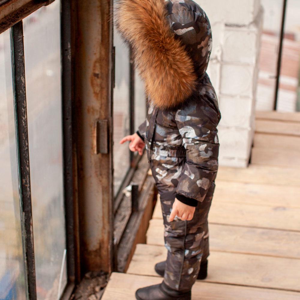 Детский камуфляжный зимний комбинезон и опушкой из натурального меха