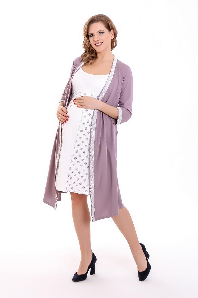 Комплект для беременных и кормящих с халатом и сорочкой 08211 капучино-бежевый