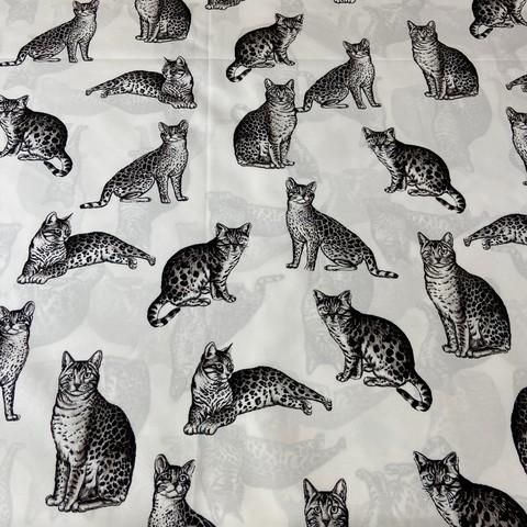 Ткань плашевка кошки монохром 3030