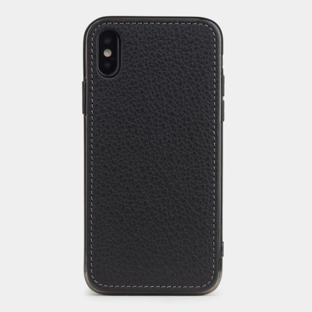 Чехол-накладка для iPhone X/XS из натуральной кожи теленка, цвета черный мат