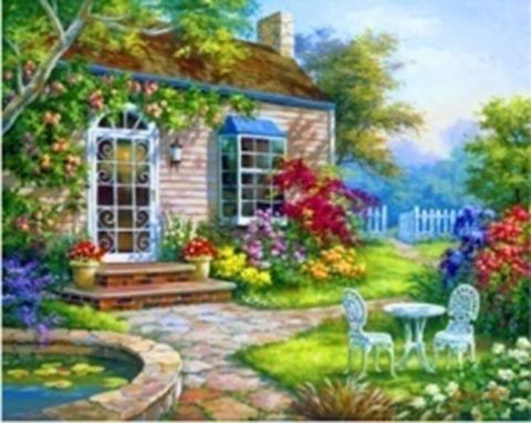 Картина раскраска по номерам 30x40 Зелёный сад (арт. KTL1271)