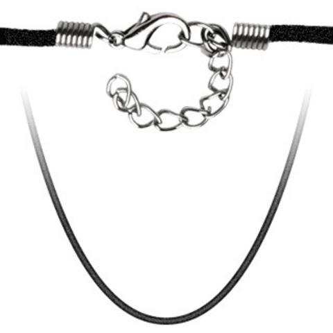 Шнурок на шею чёрный вельветовый 45 см SSN-7159-24