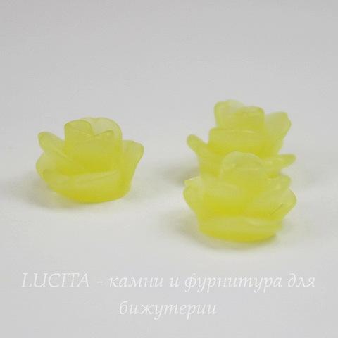 """Кабошон акриловый """"Розочка"""", цвет - лимонный, 11 мм"""