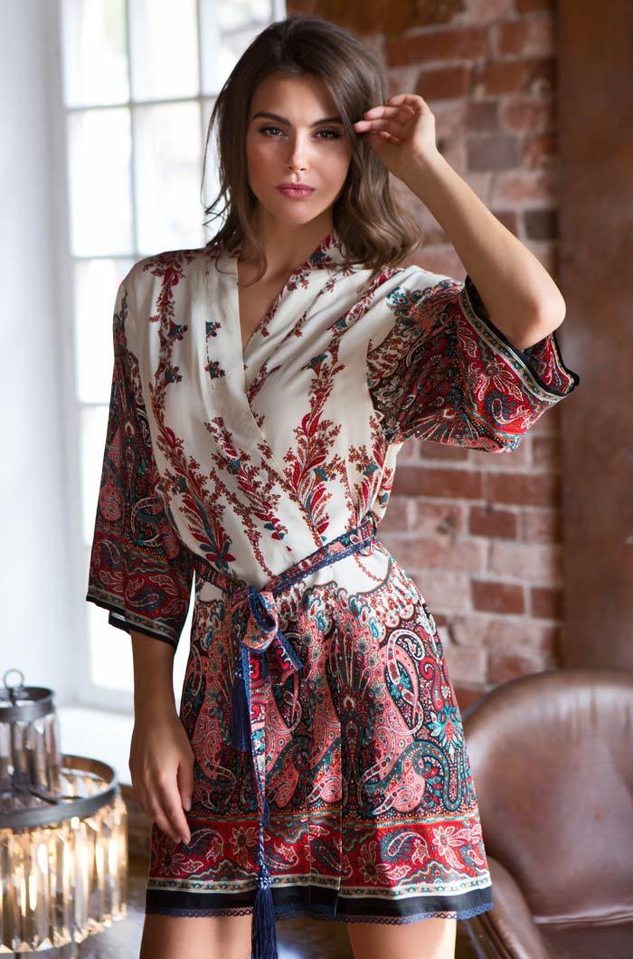 Легкие и вафельные халаты Женский хлопковый халат  MIA- MIA Shakira ШАКИРА 16073 красный 16073_red_2_big.jpg