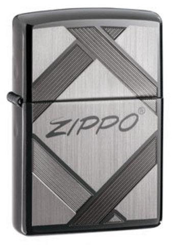 Зажигалка Zippo № 20969 с покрытием Black Ice, латунь/сталь, чёрная, глянцевая, 36x12x56 мм