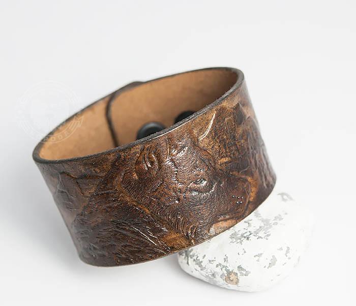 Boroda Design, Мужской браслет «Полярный Волк» из натуральной кожи
