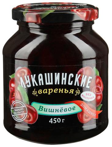 """Варенье """"Лукашинские"""" вишневое домашнее без косточек ГОСТ ст/б 450г"""
