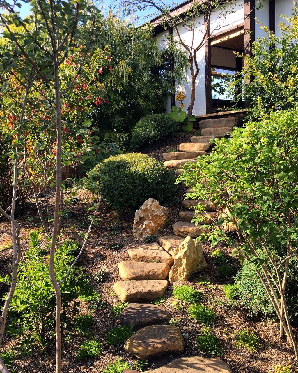 Японский сад Шаговая дорожка камень речной Жёлтый