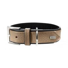 Ошейник для собак, Hunter Capri  55 (42-48 см)3,4 см натуральная кожа, бежевый/черный