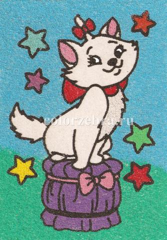 Трафарет для рисования песком Кошечка и звездочки А4