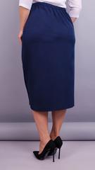 Нинель. Офисная юбка плюс сайз. Синий.
