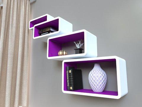 Комплект полок «Бангкок», белый/пурпурный, 4 шт