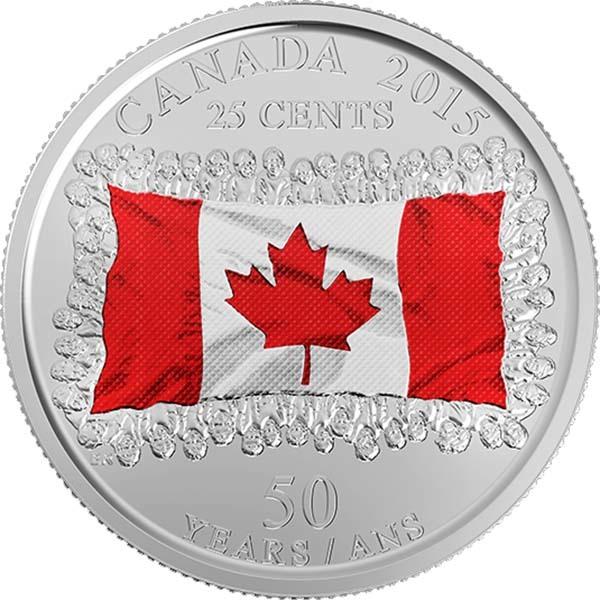 25 центов 50-летие флага Канады 2015 год UNC (Цветная)