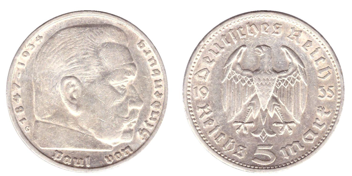 5 марок 3 рейх 1935 год (G) орел без свастики XF-AU