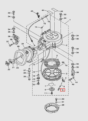 Пружина стартера для лодочного мотора T40 Sea-PRO (7-8)