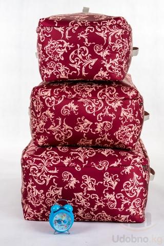 Подарочный набор из 3 мягких кофров для хранения (бордо с узорами)