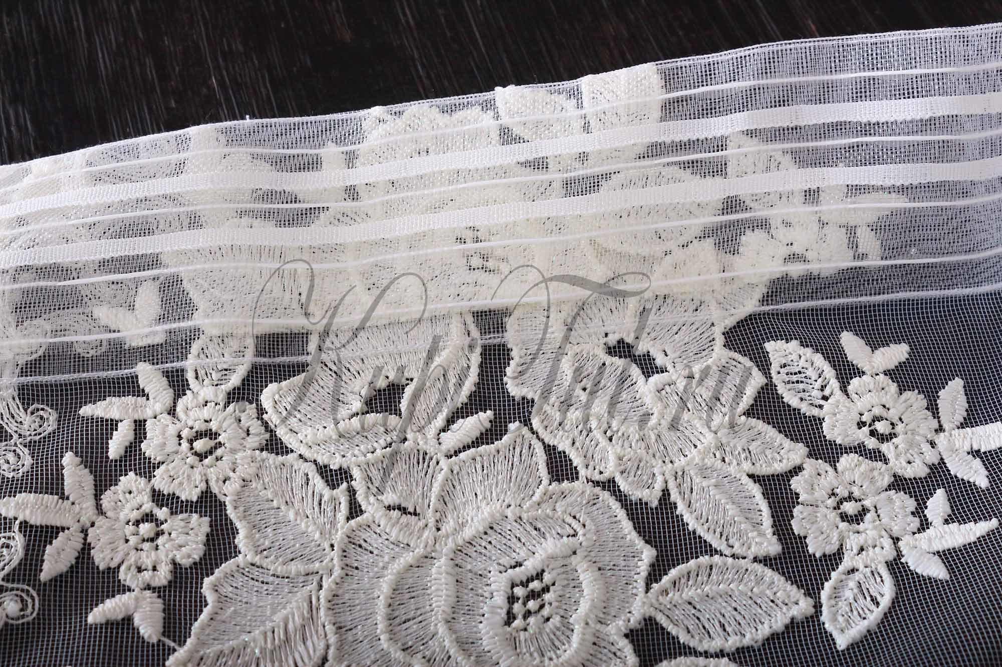 Микросетка с вышивкой Розы-Т (молочная)