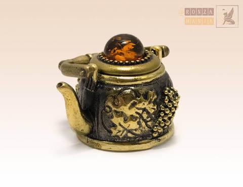 наперсток Чайничек с крышкой с янтарем