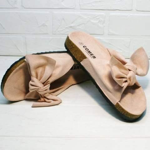 Женские шлепки с бантом. Удобные сандалии без каблука Comer-Pink.