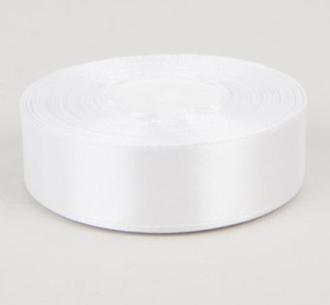 Лента атласная (размер: 25мм х 25 ярдов) Цвет:белый